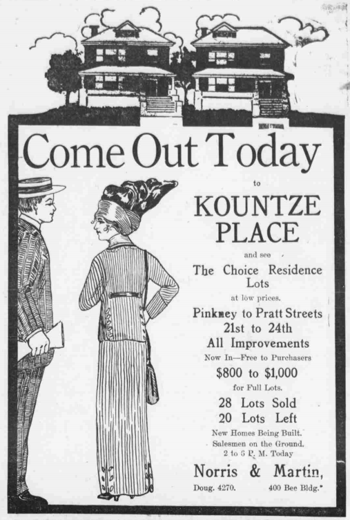 A 1906 advertisement for lots in Kountze Place. Charles Martin, later developer of the Minne Lusa and Florence Field subdivisions, began by selling lots in Kountze Place.