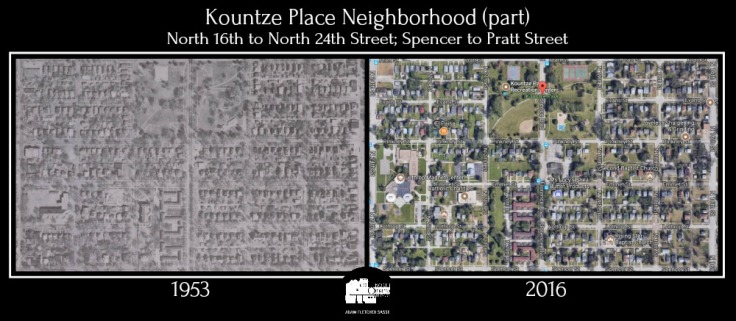 1953 2016 Kountze Place comparison North Omaha Nebraska