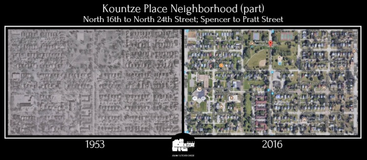 1953 2016 Kountze Place comparison North Omaha Nebraska