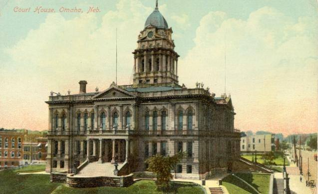 This is the second Douglas County Courthouse in Omaha, Nebraska. George Smith, aka Joe Coe, was lynched here.