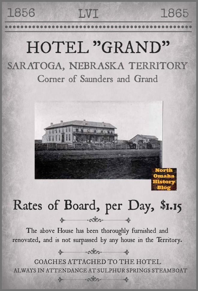 A modern flyer for the historic Grand Hotel in Saratoga, Nebraska Territory.