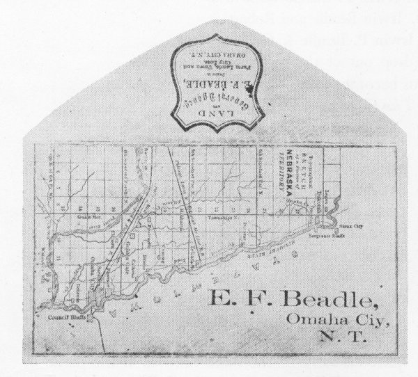 This is a map of Omaha City on stationary for founder Erastus Beadle featuring Saratoga between Omaha and Florence.