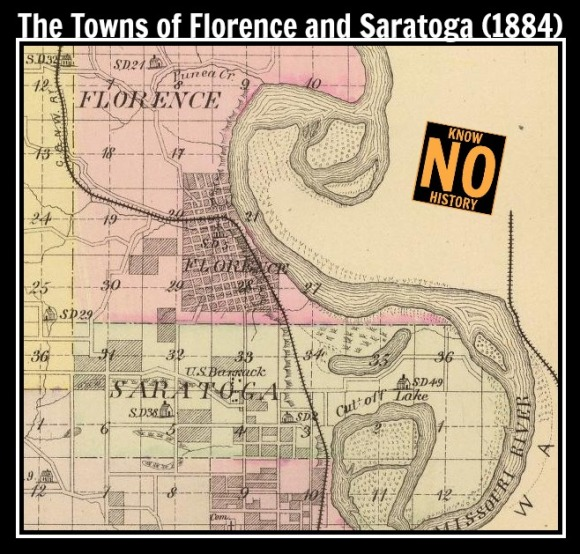 This is a historic map showing the position of the town of Saratoga to Florence in the north and Omaha to the south.
