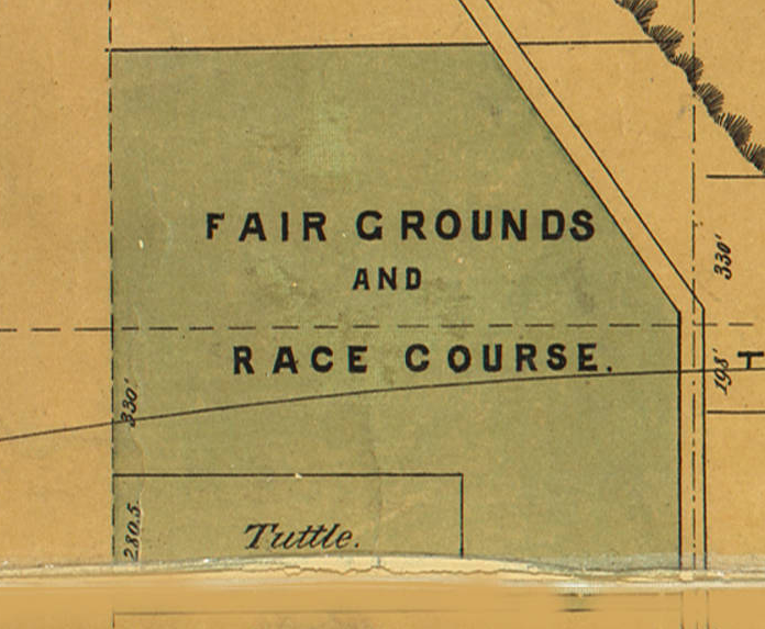 This is an 1886 map showing the Douglas County Fairground and race course on the site of the Omaha Driving Park. This is a year before the Belt Line Railroad was installed through the area, but the track was already accommodated with a southern shift of the grounds.