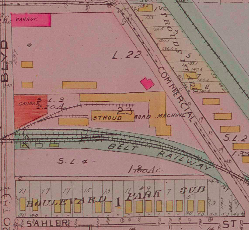 In this 1910 Sanborn Fire Insurance map, we see the Stroud Road Machine factory was located on the site of the former Omaha Driving Park.
