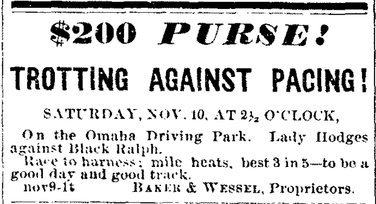 1866 Omaha Driving Park advertisement