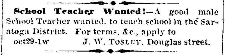 1866 Omaha Daily Herald want ad to hire a teacher in Saratoga.