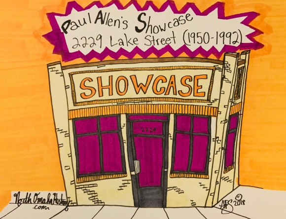 This is a drawing of Paul Allen's Showcase at 2229 Lake Street in North Omaha, Nebraska. This drawing is ©2019 by Adam Fletcher Sasse for NorthOmahaHistory.com. All rights reserved.