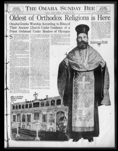 Omaha Bee newspaper on the Greek Orthodox Church