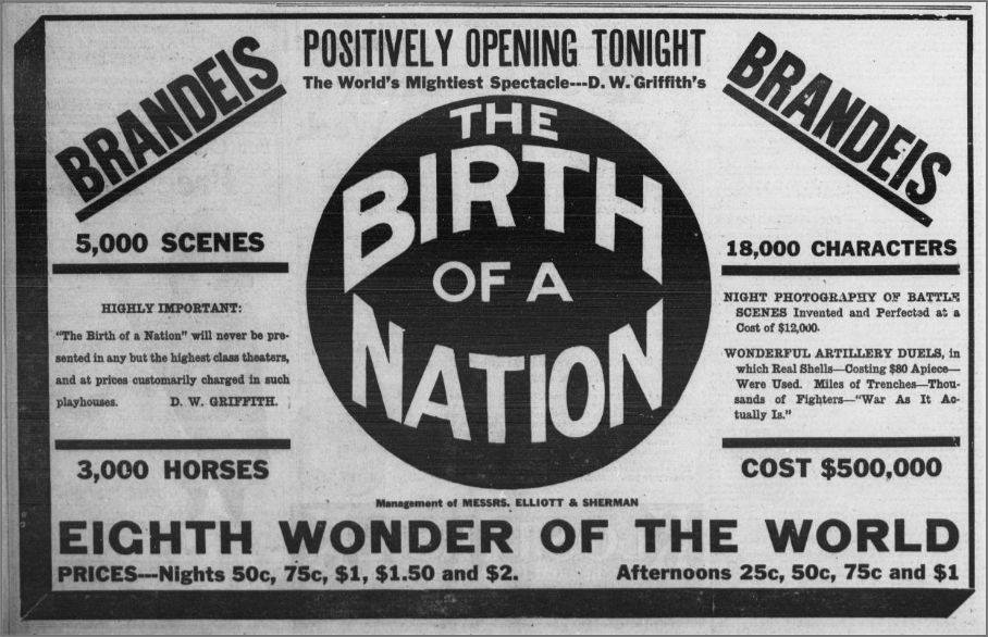 The Birth of a Nation ad, Omaha, Nebraska