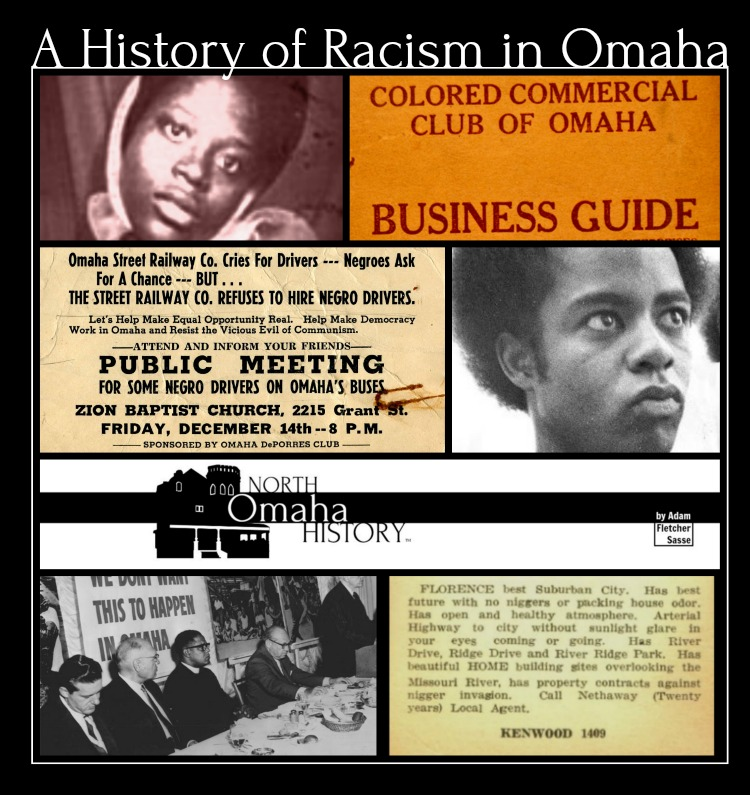 The history of racism in Omaha includes (clockwise from upper left) the murder of Vivian Strong; the Colored Commercial Club of Omaha; the DePorres Club; David Rice; the Omaha Ministerial Alliance; redlining; and much more.