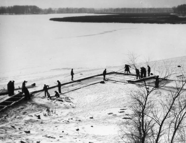 Ice harvesting on Carter Lake in the Levi Carter Park of Omaha, Nebraska
