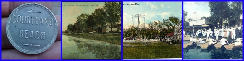 Historic views of Carter Lake, including a token from the Courtland Beach amusement park; the bungalows on the lake; the Courtland Beach amusement park; and boaters at the Rod and Gun Club.