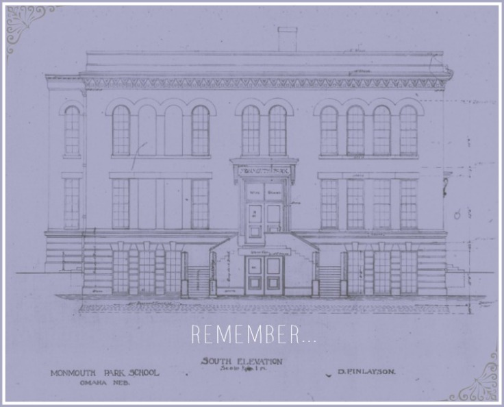 An architectural drawing of North Omaha's Monmouth Park School at N. 33rd and Ames.