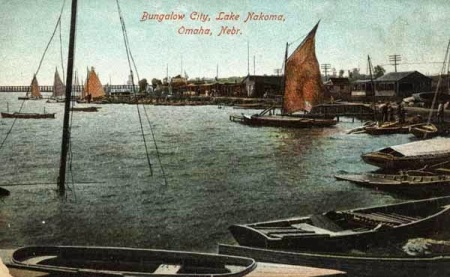 A historic postcard for Bungalow City, Lake Nakoma, Omaha, Nebraska.