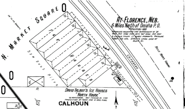 Talbot's Ice House was located on the Omaha Road railroad at the Florence Water Works when this 1901 Sanborn Fire Company insurance map was made.