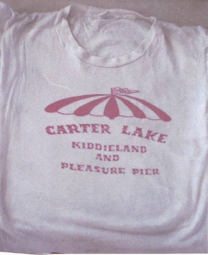 This t-shirt for the Carter Lake Pleasure Pier and Kiddieland is an originaly that belongs to Lane Levi from when he worked there.