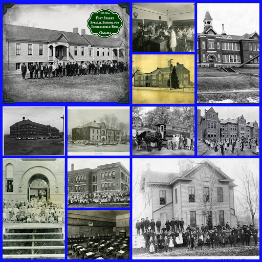Schools in North Omaha, from upper left: Fort Street Special School; Long School classroom; Pershing School; Florence School; Lake School; Florence School bus; Saratoga School; Florence School classroom; Monmouth Park School; Long School; Lake School students; Miller Park School
