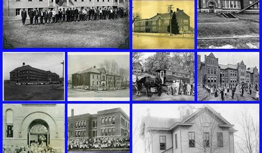 Schools in North Omaha, from upper left: Fort Street Special School; Long School classroom; Pershing School; Florence School; Lake School; Florence School bus; Saratoga School; Florence School classroom; Monmouth Park School; Long School; Lake School students; Miller Park School