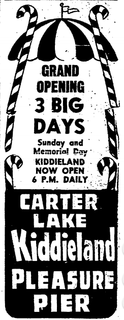 1957 ad for the Carter Lake Kiddieland and Pleasure Pier, North Omaha, Nebraska.