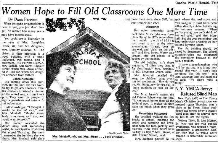 Fairfax School, N. 40th and Pratt Streets, North Omaha, Nebraska