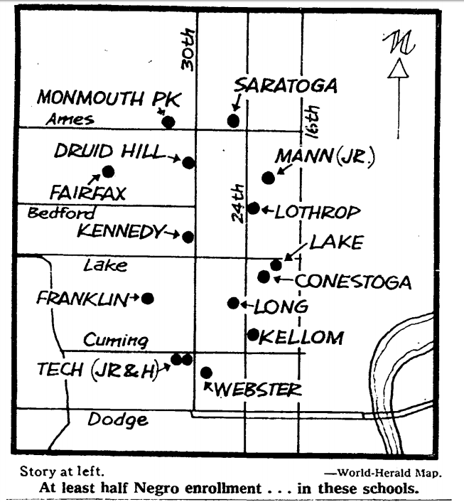 Segregated schools in Omaha in 1967.