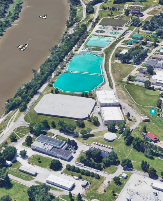 This is a 2016 aerial image of the Florence Water Works from Google Earth.