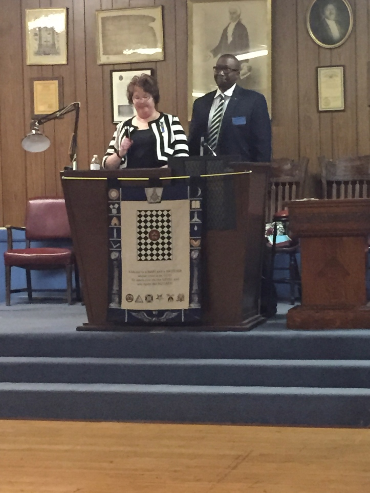Karen and Freddie Clopton speaking at the Druid Hall in 2015.