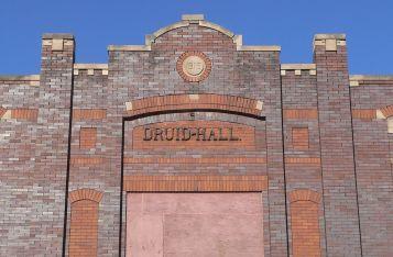 Capstone of the Druid Hall, 2412 Ames Avenue, North Omaha, Nebraska by Ammodramus.