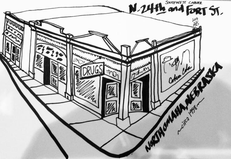N. 24th and Fort St. Southwest Corner drawing by Adam Fletcher Sasse