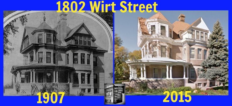 This is a then-and-now comparison of 1802 Wirt Street in North Omaha in 1907 and 2015.
