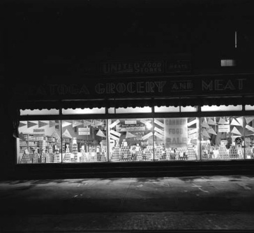 This is the exterior of the Saratoga Grocery and Meats, located on the northwest corner of N. 24th and Fort from 1918 though 1957.