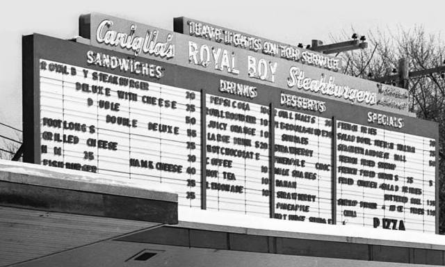 Caniglia's Royal Boy Drive-In Order Board