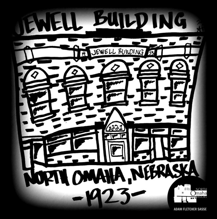 Drawing, Jewell Building, 2221 N. 24th St., North Omaha, Nebraska
