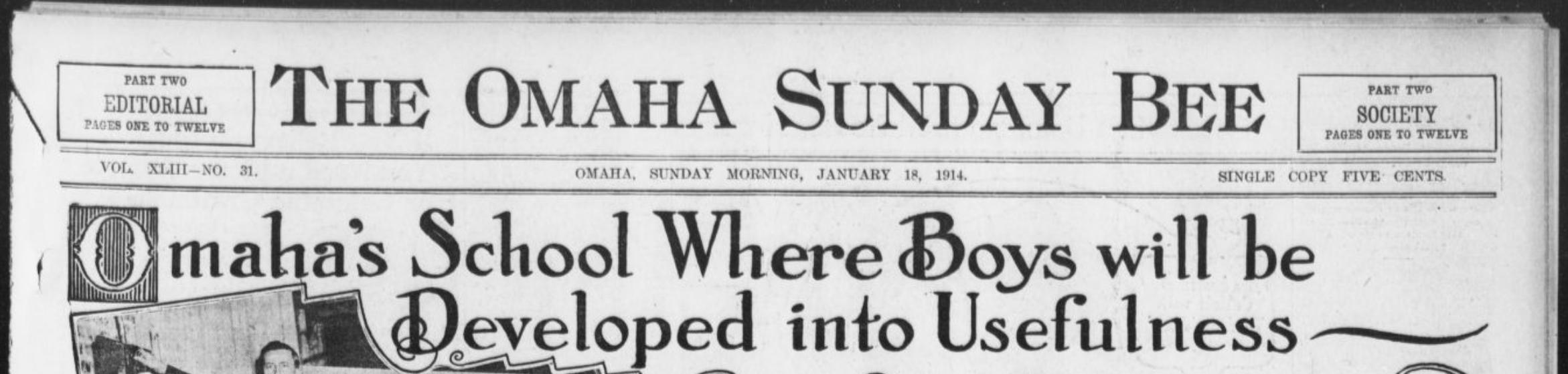 omaha fort street special school 1914 Omaha Bee headline