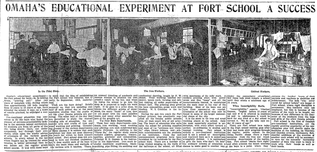 1915 feature on the Fort Street Special School for Incorrigible Boys in North Omaha, Nebraska