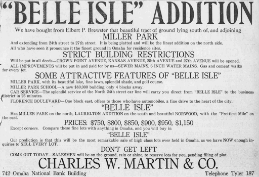 Belle Isle Addition, Miller Park neighborhood, North Omaha, Nebraska