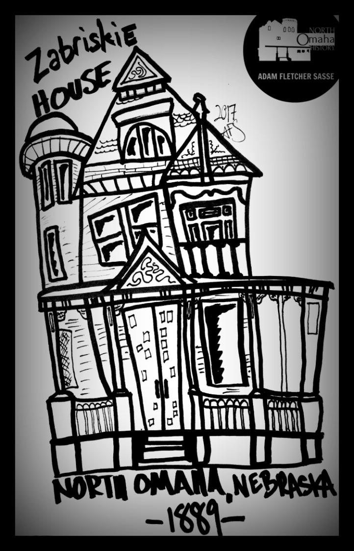 This is a drawing of the Zabriskie House in Bemis Park by Adam Fletcher Sasse for North Omaha History