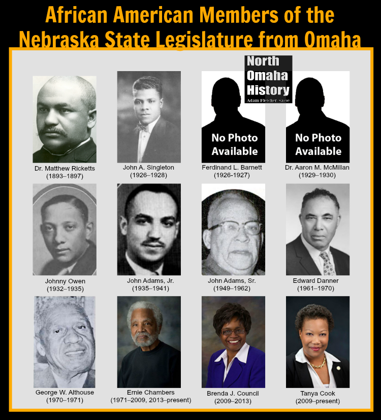 African American Nebraska State Legislators from Omaha, including Dr. Matthew Ricketts, John Andrew Singleton, Ferdinand L. Barnett, Dr. Aaron Manasses McMillan, Johnny Owen, John Adams, Jr., John Adams, Sr., Edward Danner, George W Althouse, Ernie Chambers, Brenda J. Council, and Tanya Cook.