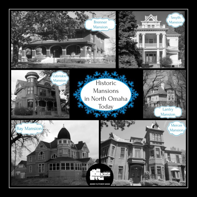 This is a graphic of the historic mansions in North Omaha today.