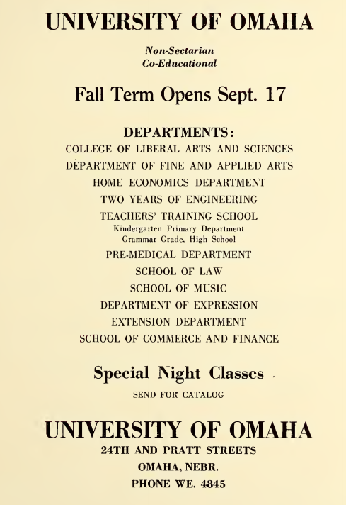 1928 University of Omaha advertisement
