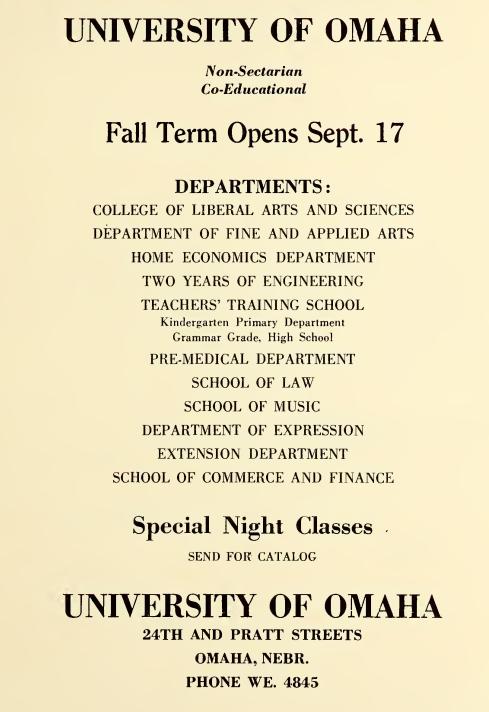 1928 University of Omaha advertisement