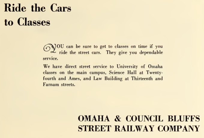 1928 University of Omaha Omaha and Council Bluffs Street Railway Company advertisement