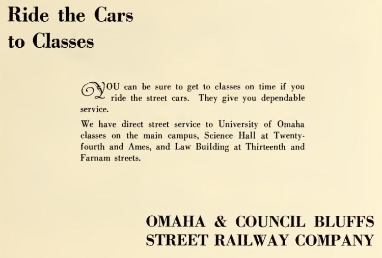 1928 University of Omaha Omaha and Council Bluffs Street Railway Company advertisement