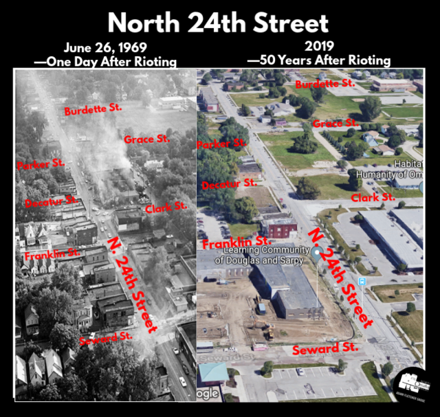 This is a then-and-now comparison of N. 24th St. between Seward and Burdette in North Omaha on June 26, 1969 and 50 years later in 2019.