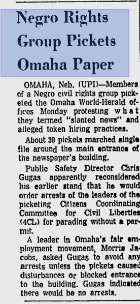 """Negro rights group pickets Omaha paper,"" from the UPI in 1963."