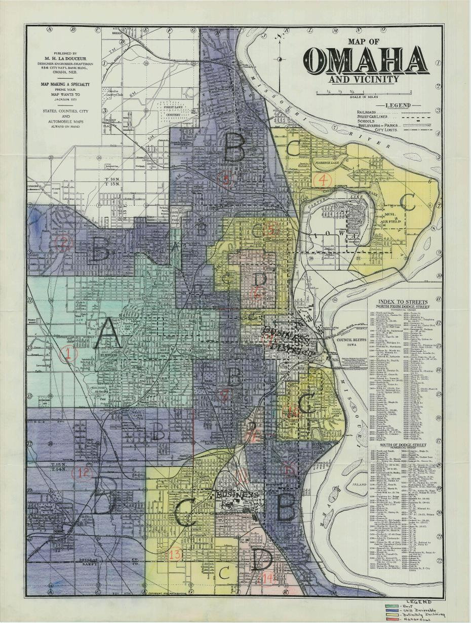 This is a 1930s era US federal government Home Owners Loan Corporation map from the US Library of Congress. It was found by Palma Joy Strand, a professor at Creighton Law School and the Werner Institute 2040 Initiative at Creighton University.