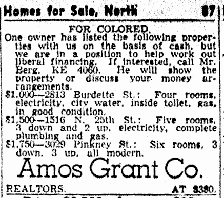 Segregationist redlining ad from the Omaha World-Herald on Sunday, November 14, 1943