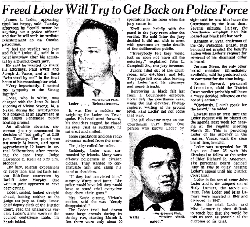 """Freed Loder will try to get back on police force,"" March 18, 1970 Omaha World-Herald"