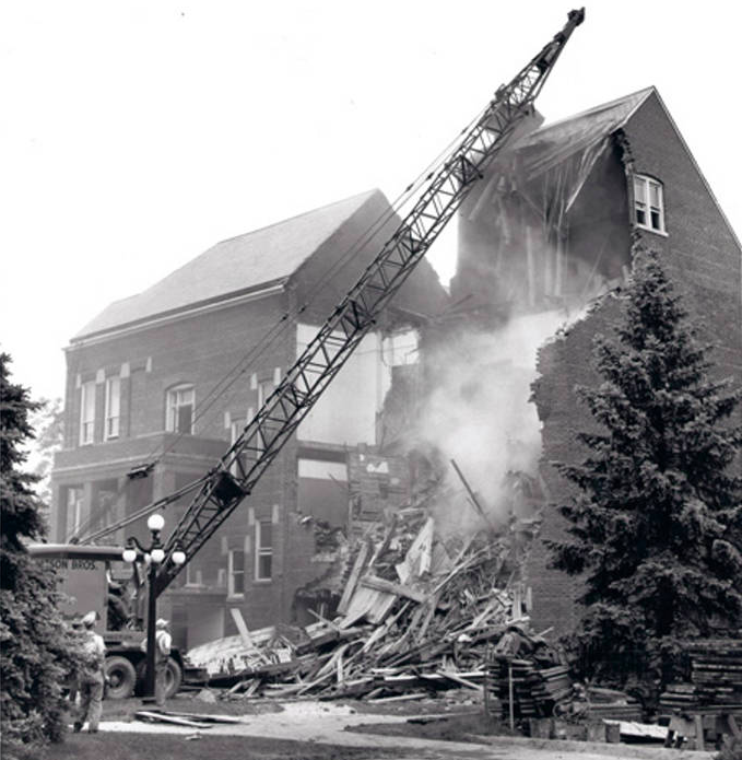 1961 Demolition of the Administration Building of the Immanuel Deaconess Institute, North Omaha, Nebraska